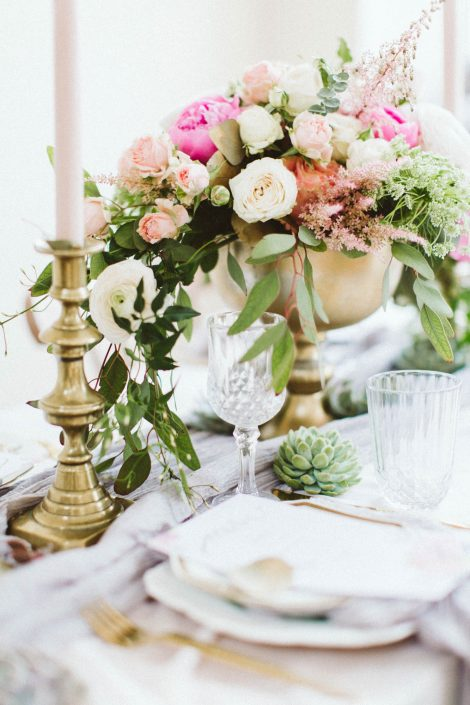 wedding flowers on table setting
