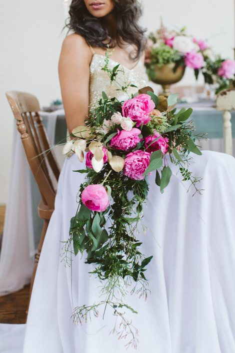 beautiful summery floral bridal bouquet