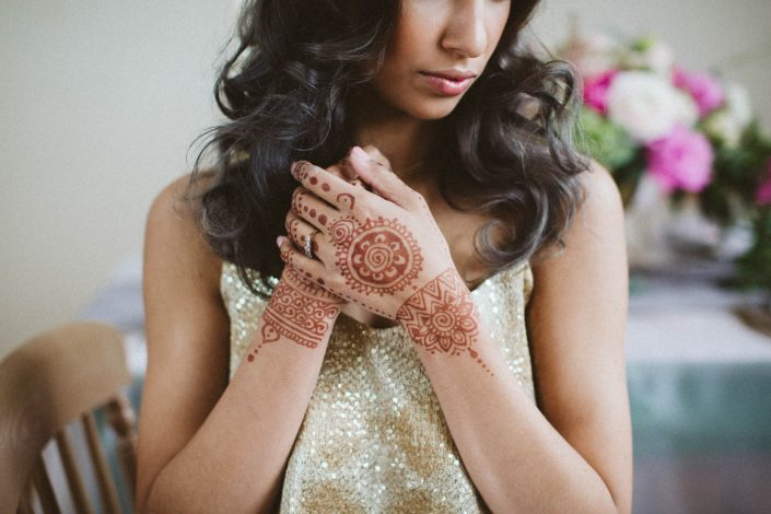 boho indian bride with henna