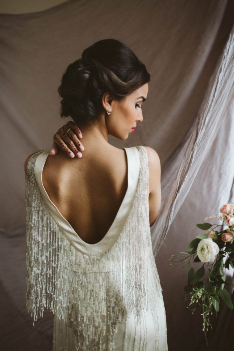 white gatsby wedding gown