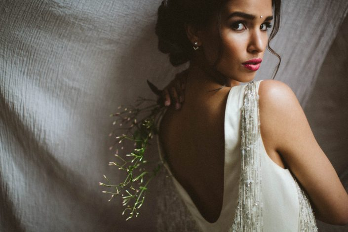 indian bride in white wedding dress