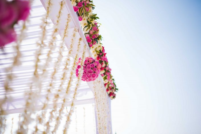 Mandap Details with Vibrant Florals - Nidhi + Arpan Exotic Indian Destination Wedding