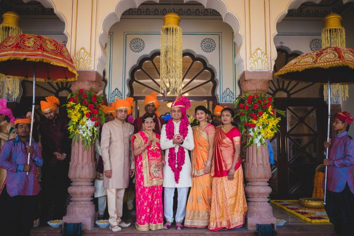 Indian Family Wedding Portrait - Nidhi + Arpan: Exotic Destination Wedding in Jodhpur Rajasthan