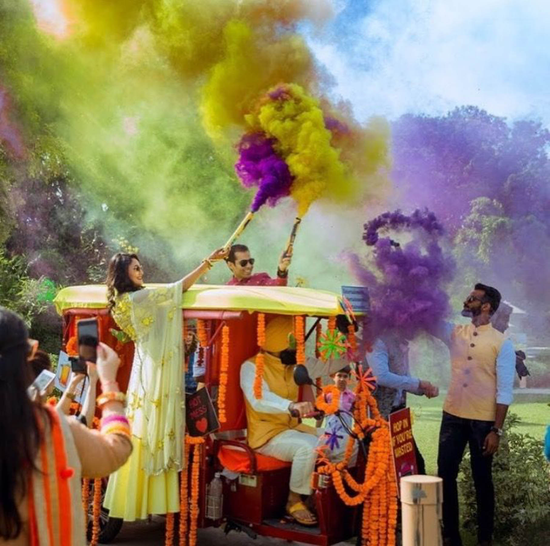 Enhance your Indian wedding reception party entrance with smoke bombs