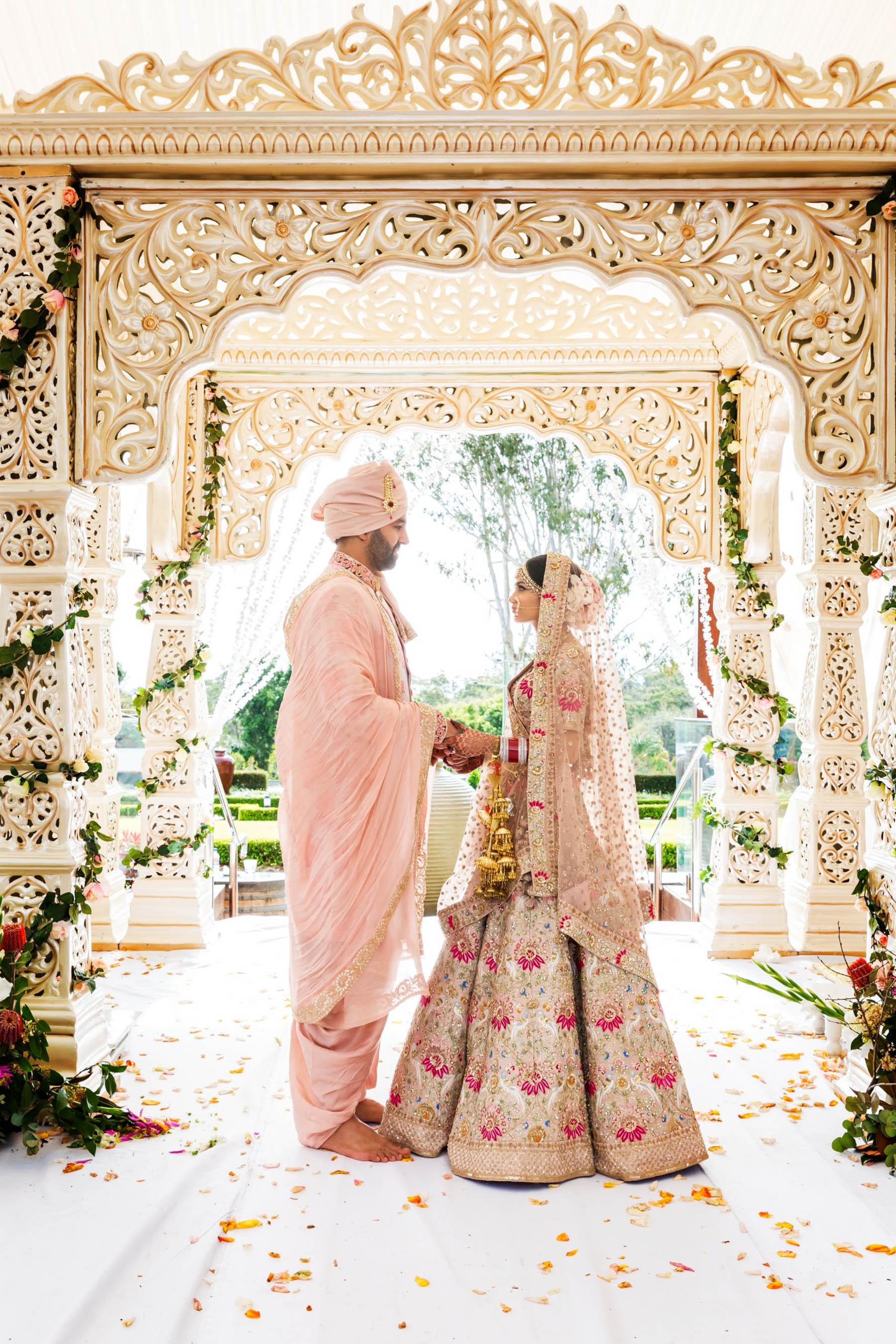 Glam Punjabi Wedding in Sydney Featuring A Stunning Mandap_ Myura and Bharat