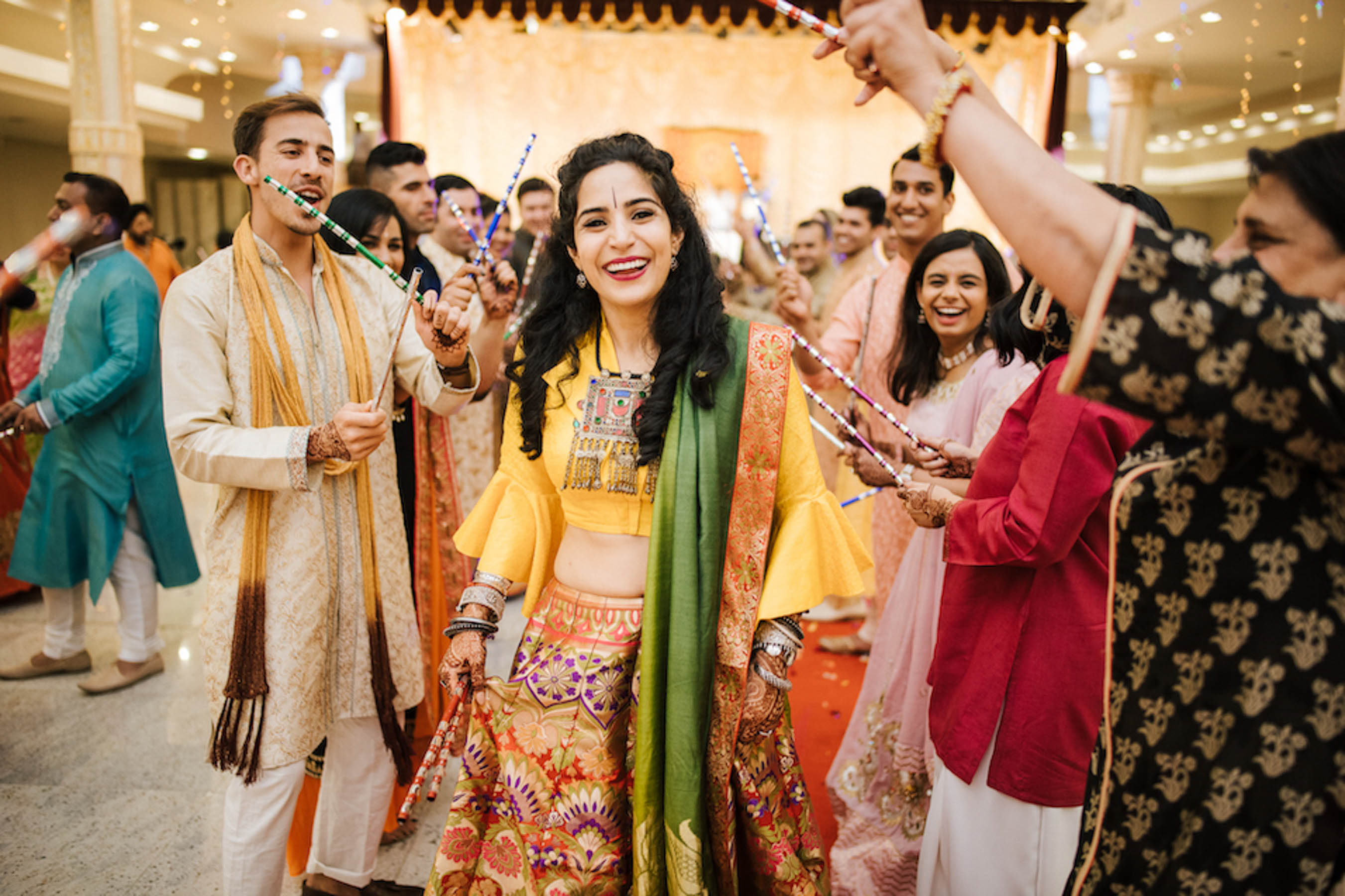 Nomeeta and Cheten's stylish Gujarati wedding took place at multiple wedding venues in Melbourne. This included a fabulous garba and dandia party.