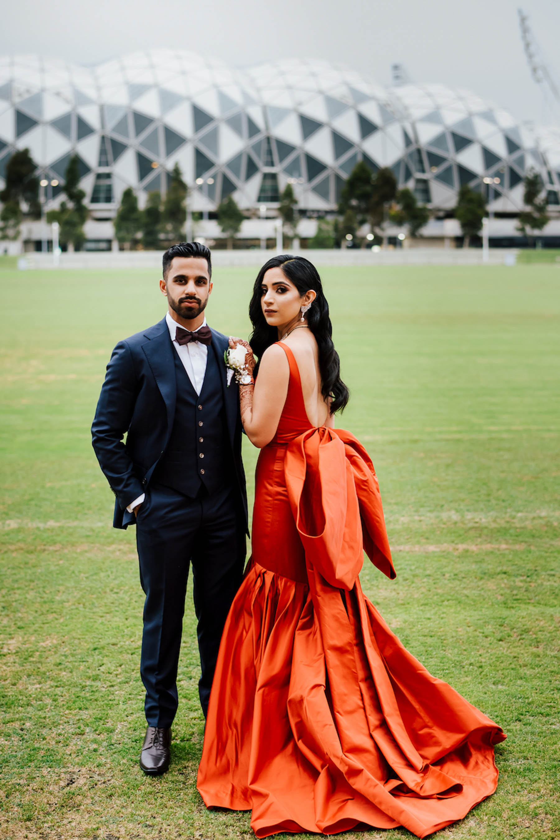 Melbourne bride, Nomeeta wanted a silhouette which had drama or statement for her wedding reception, so she opted for a Gauri And Nainika gown which she had seen Deepika Padukone wear at the IIFA Awards one year.