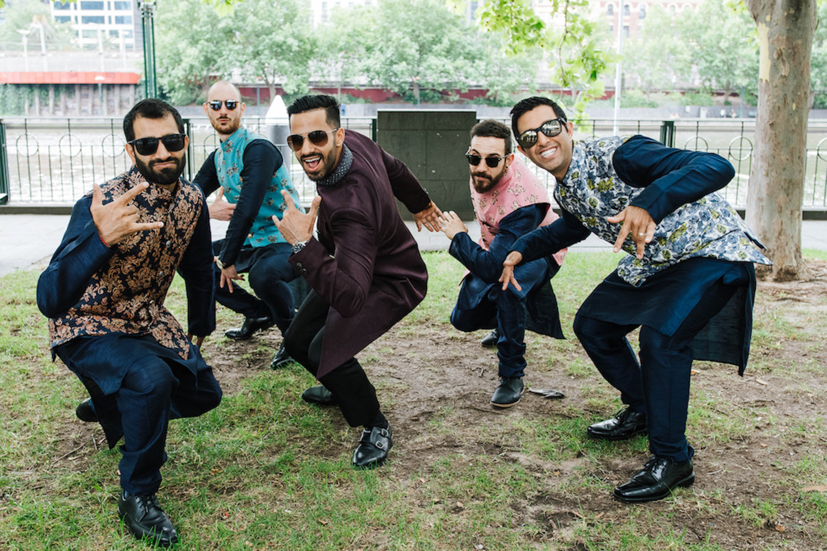 Melbourne groom Cheten and his groomsmen on the Sangeet party night.