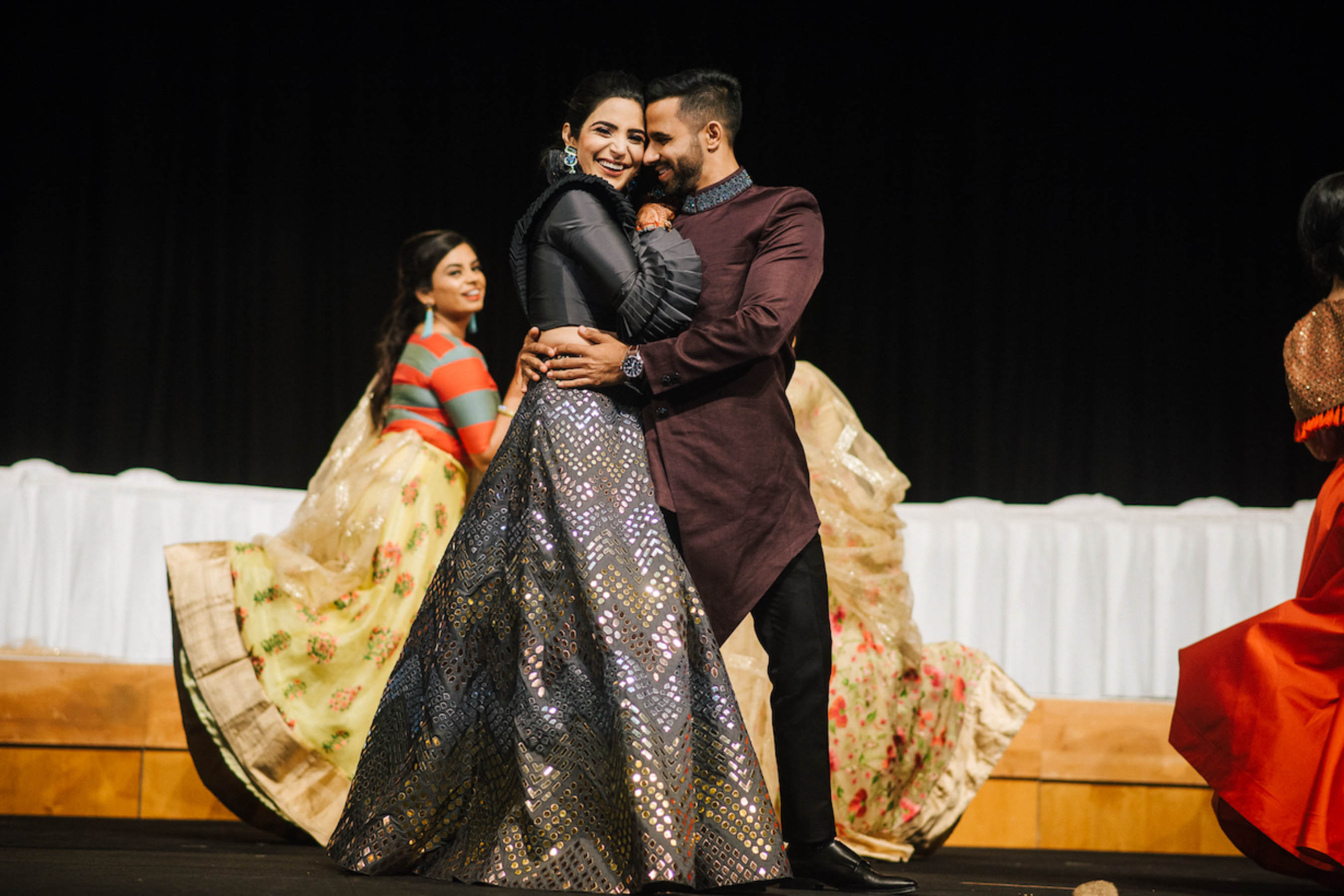 Melbourne bride and groom on their Sangeet party night at Crown Casino Melbourne.