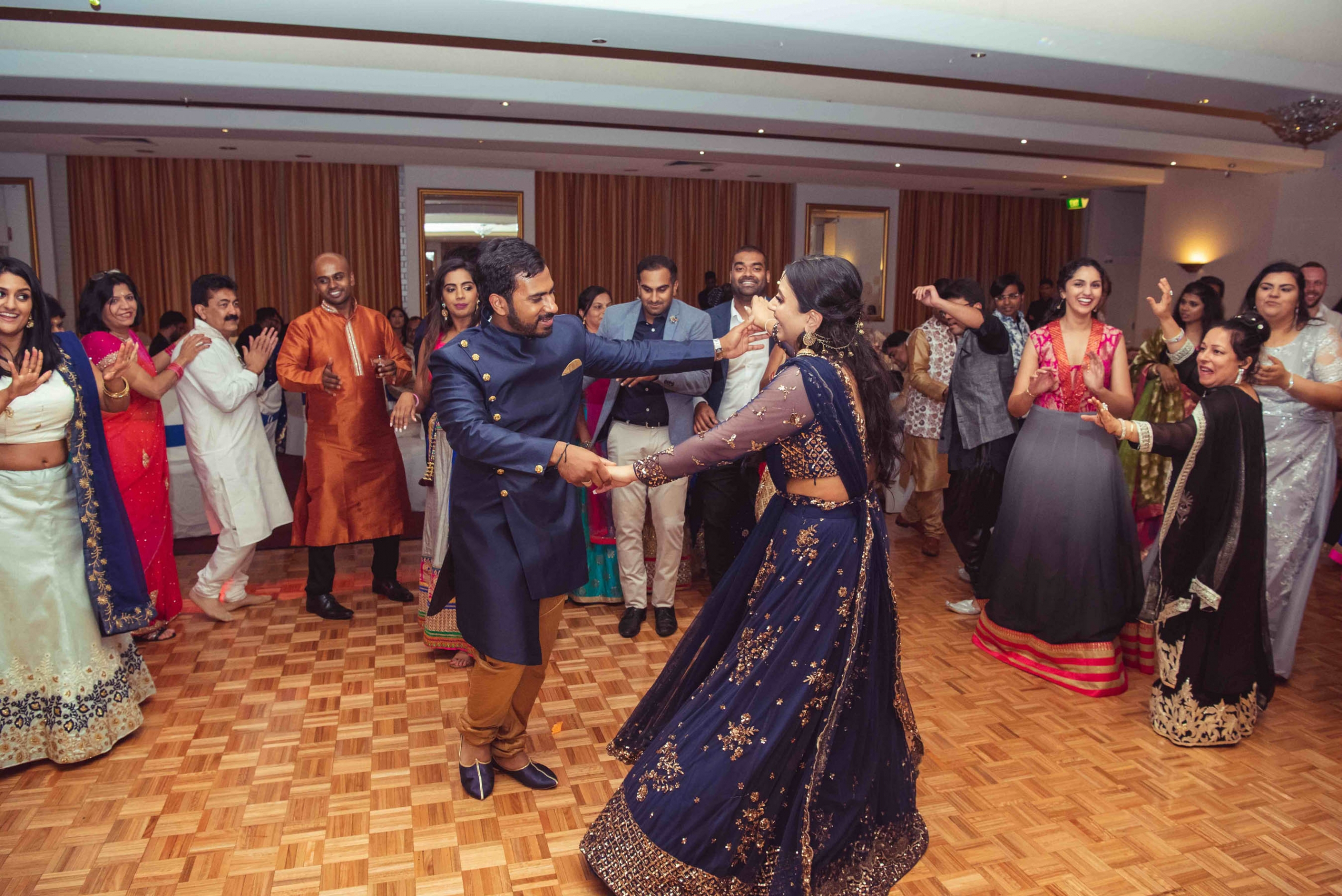Melbourne couple, Ron and Kanika on their Sangeet night. Photography captured by Rolling Canvas.