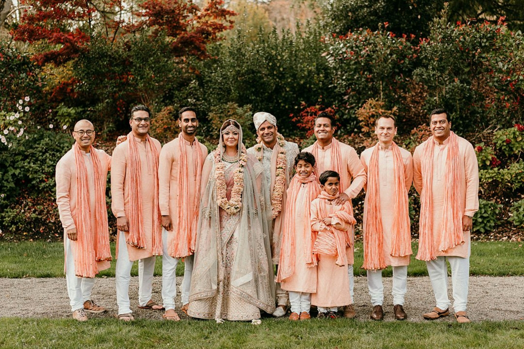 Lindsay and Miten with the groomsmen at their Indian fusion wedding in Ireland.