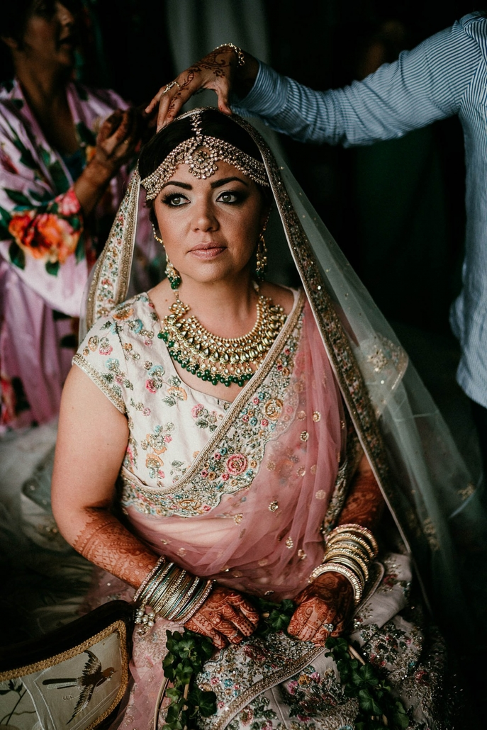 Beautiful American bride, Lindsay was dressed in a stunning lehenga for her Indian fusion wedding in Ireland.