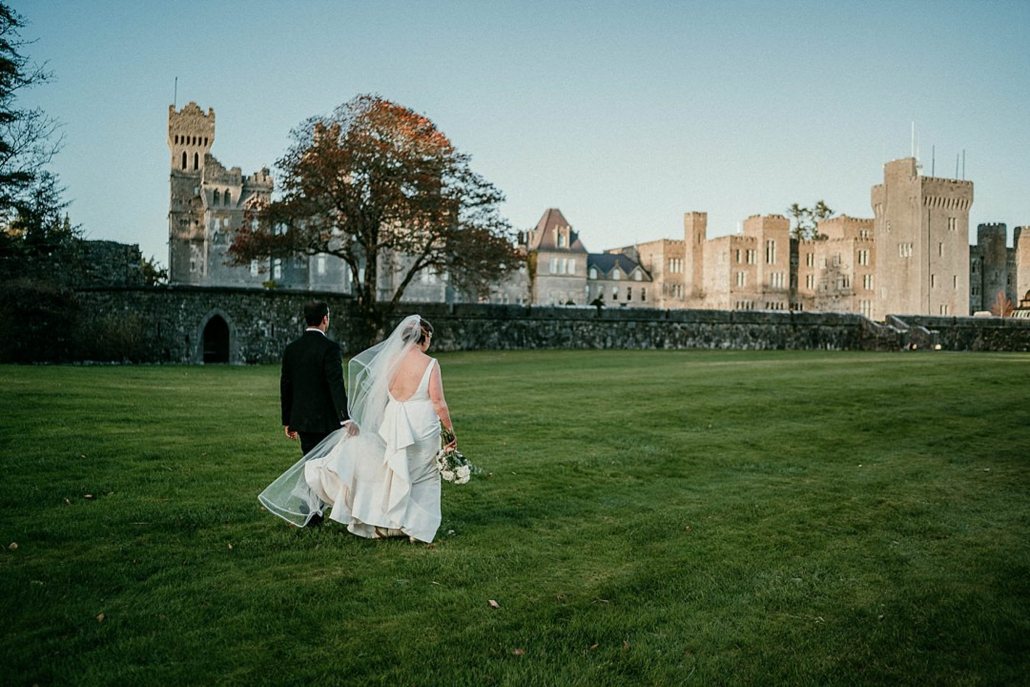 Lindsay and Miten's Indian fusion wedding reception party was held in an outdoor marquee at the stunning Ashford Castle in Ireland.