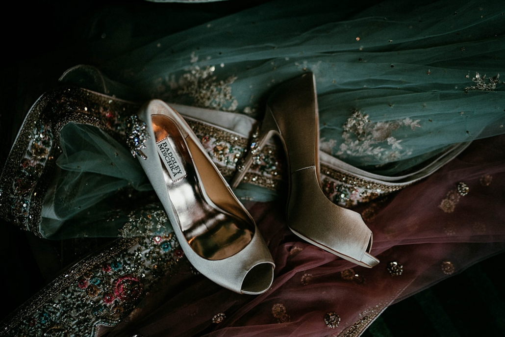Bride, Lindsay's beautiful bridal shoes worn for her Indian fusion wedding in Ireland.