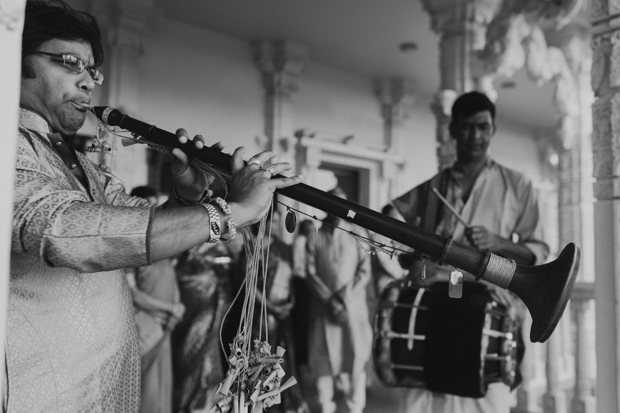 Traditional Indian musicians were flown in to Shilpa and Shakti's Hindu wedding in Auckland, New Zealand