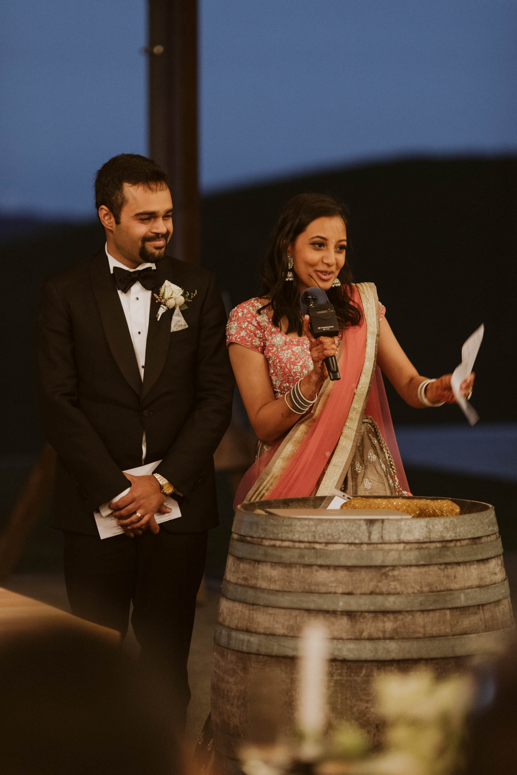 Shilpa and Shakti at their wedding reception in Auckland, New Zealand.