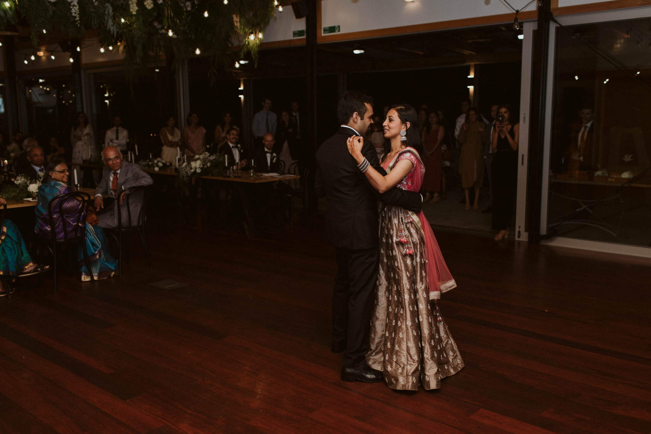 Shilpa and Shakti having their first dance at their wedding reception in Auckland, New Zealand.