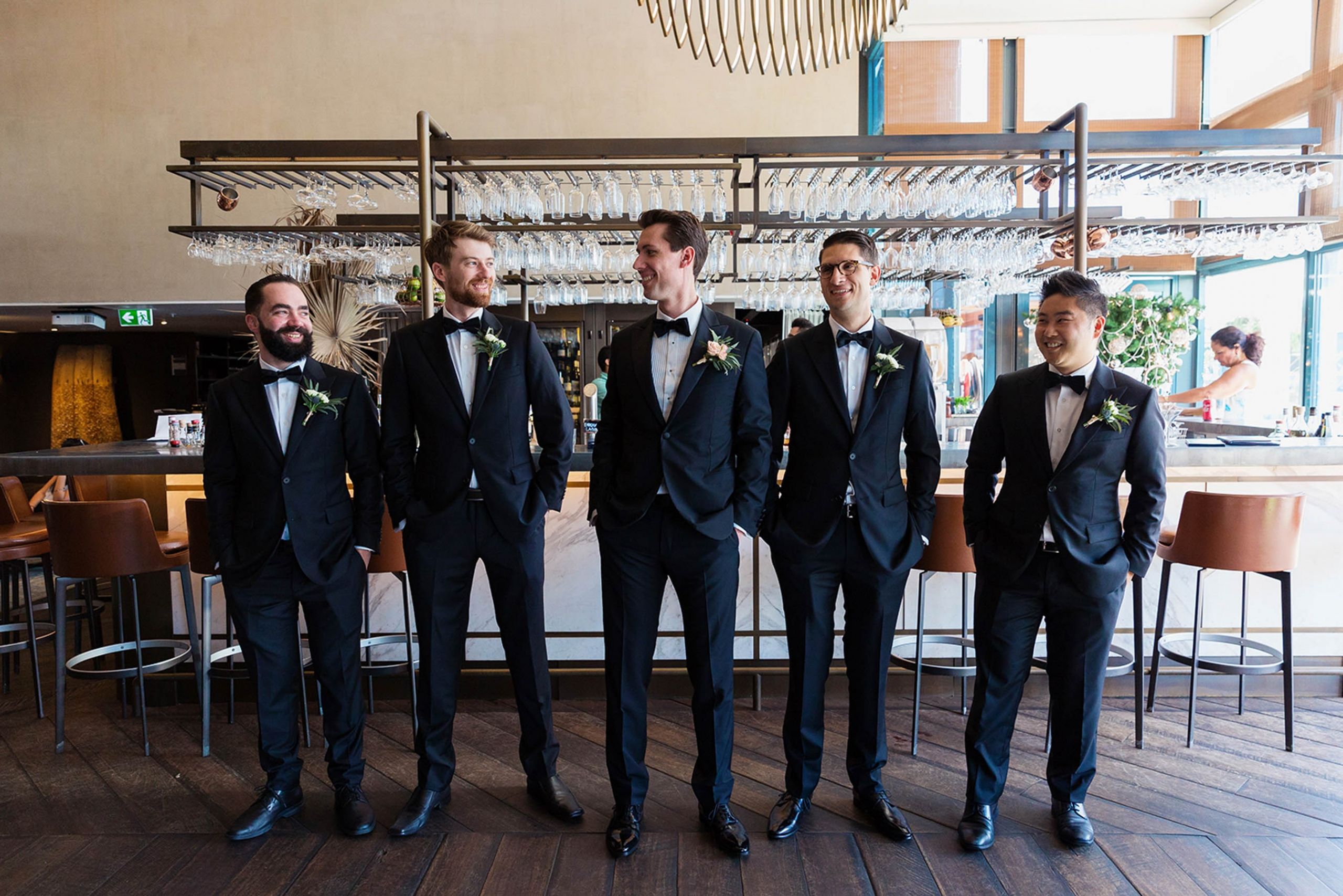 Groom, Daniel with his groomsmen at his Sydney wedding.