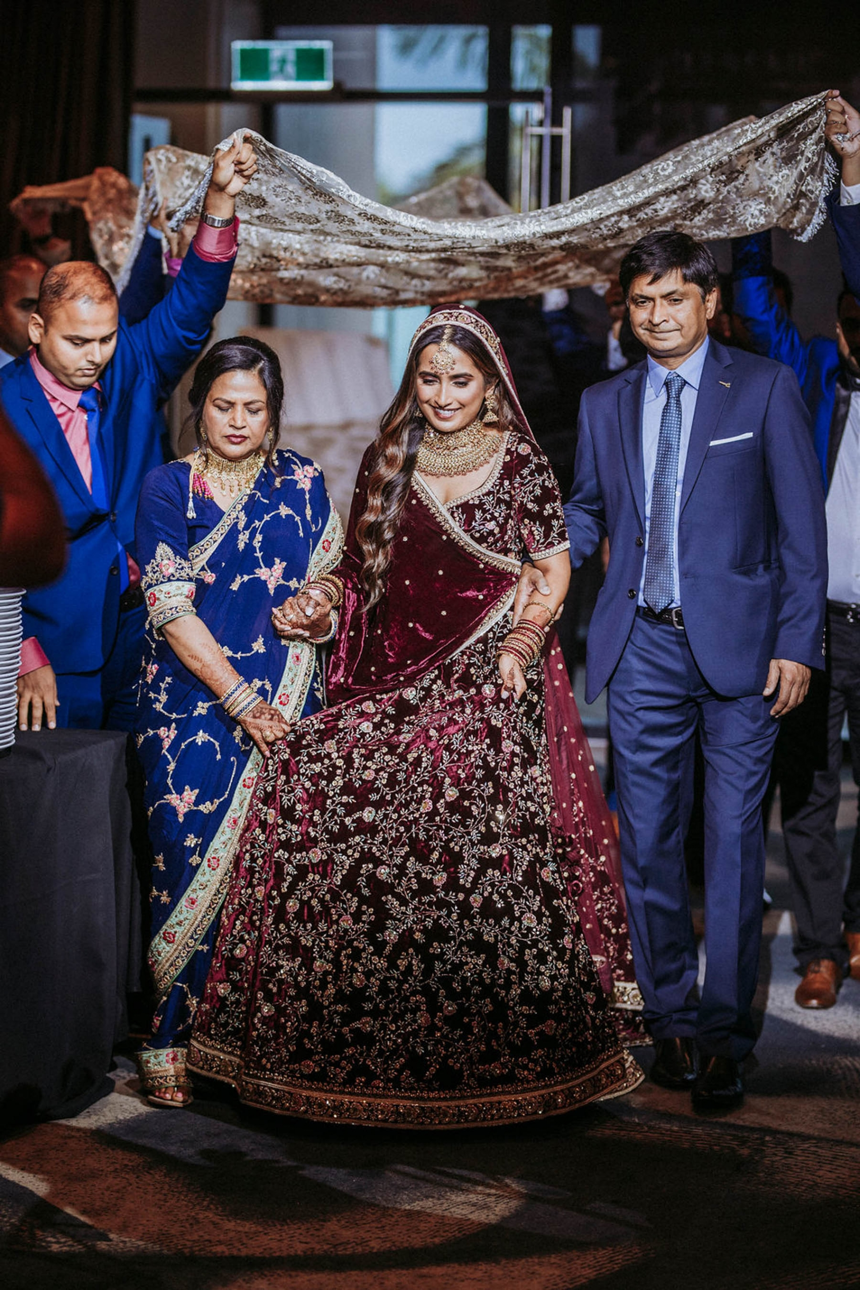 Shaheen and Qaseem's Nikah ceremony in Sydney. Indian bride, Shaheen wore a stunning velvet Sabyasachi lehenga for her wedding ceremony.