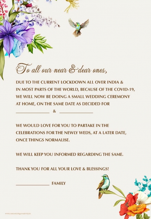 Change the date wedding templates created by Indian wedding stationery business, Customizing Creativity.