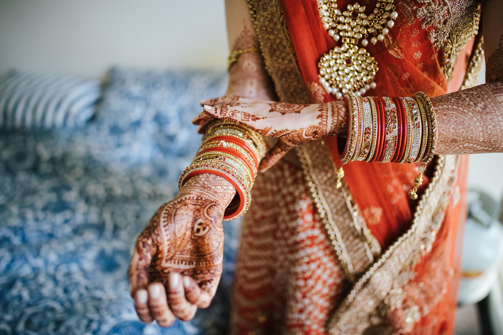 There was no particular style that appealed to Claire, she just knew that her Indian bridal lehenga must be red.