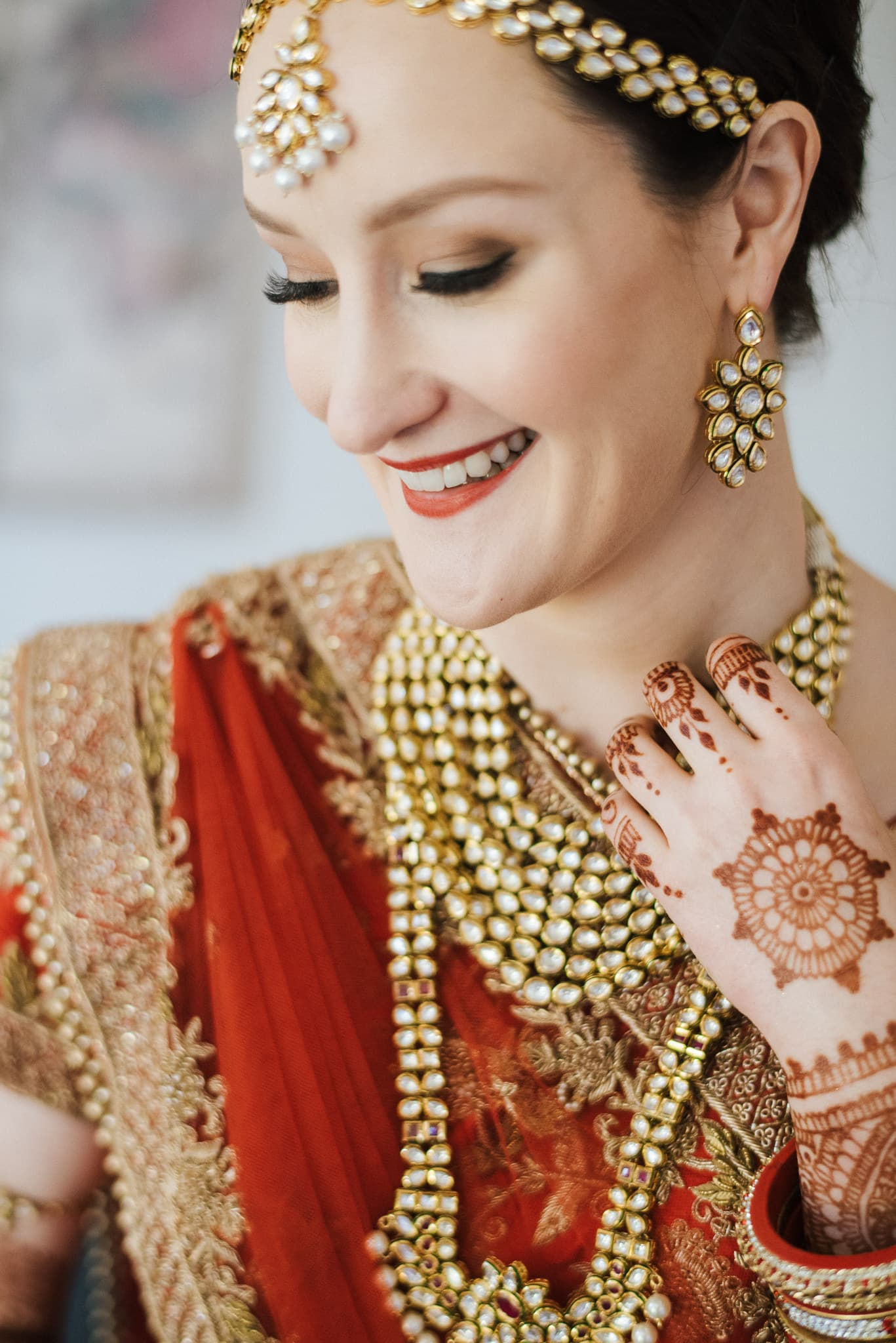 Australian bride, Claire wore a classic Indian bridal lehenga for her wedding to Rohit in Melbourne, Australia.