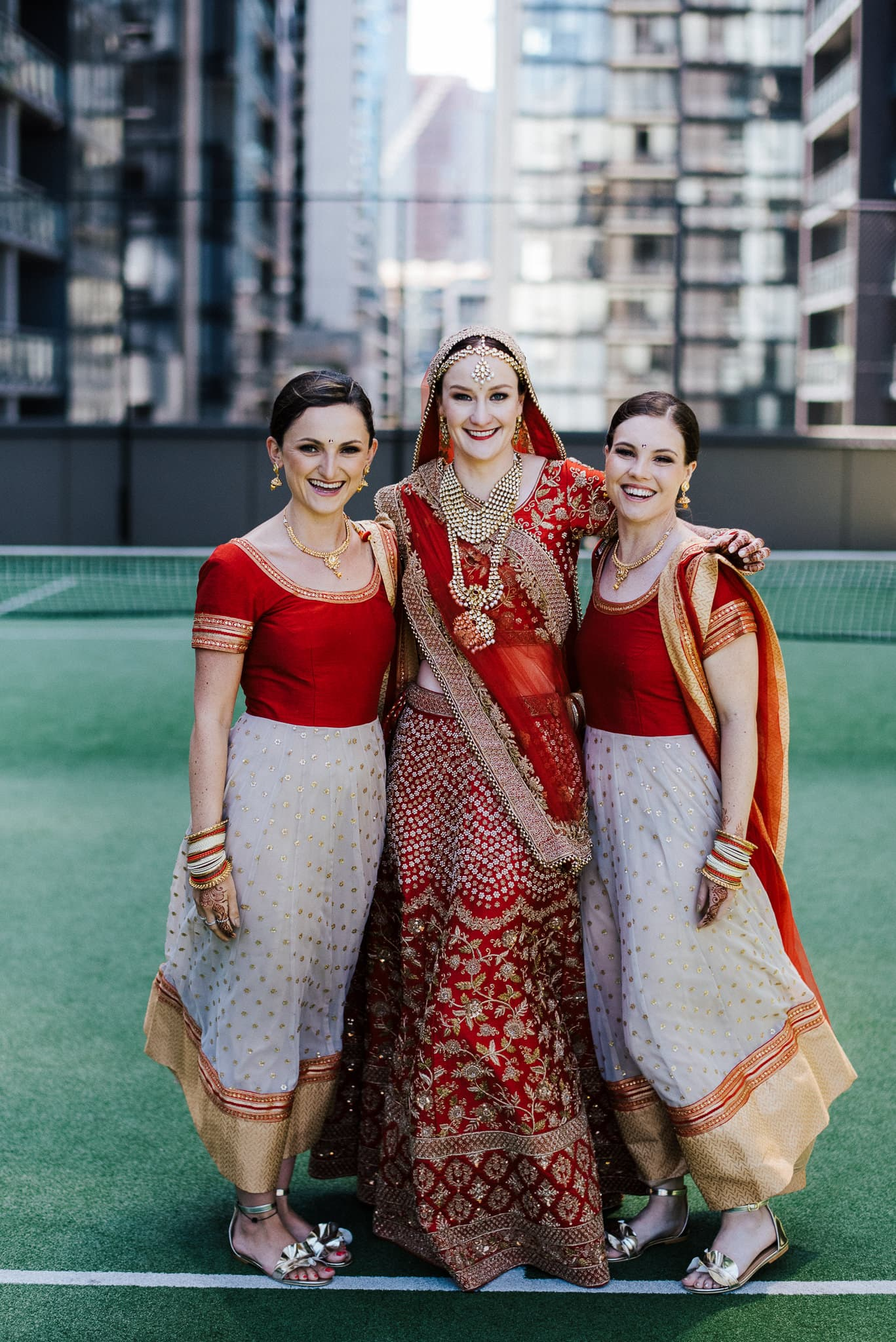 Australian bride, Claire wore a classic Indian bridal lehenga for her wedding to Rohit in Melbourne, Australia. She had a lot of support from her two bridesmaids during the entire wedding.