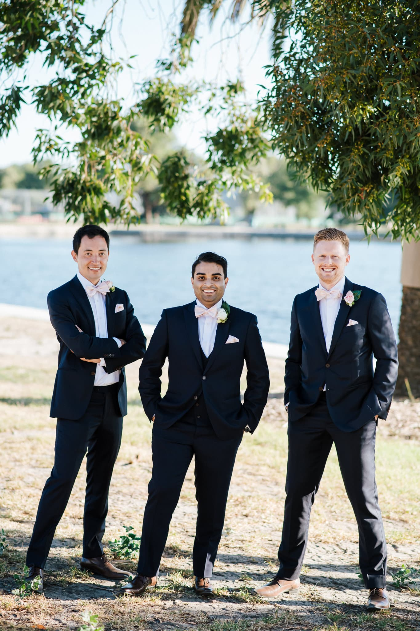 Melbourne groom, Rohit with his groomsmen at his colourful multicultural wedding.