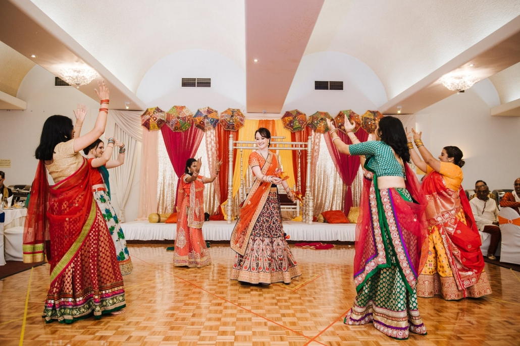 Australian bride, Claire dancing at her Sangeet Party in Melbourne at the Spirit Of India restaurant.