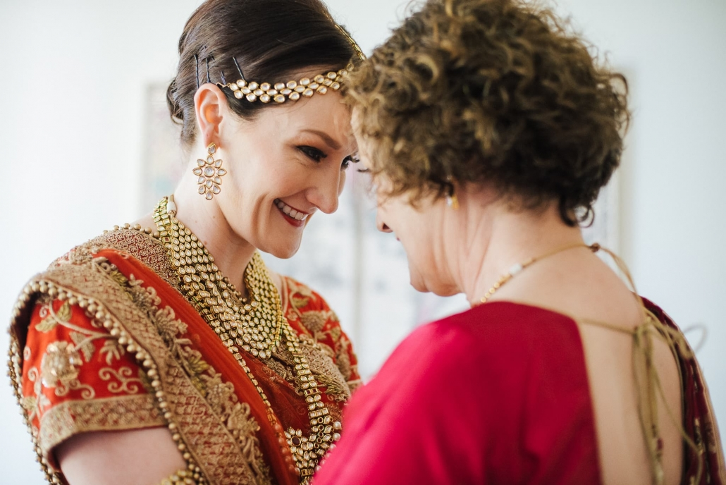 Australian bride, Claire with her mother on her wedding day in Melbourne, Australia.