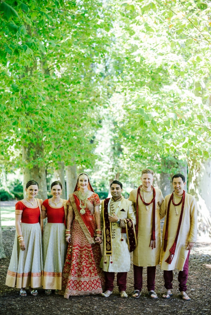 Melbourne couple, Claire and Rohit with their bridal party.