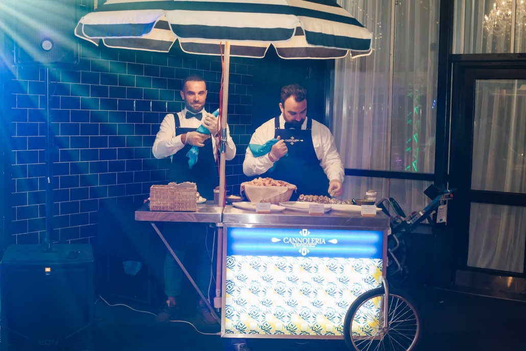 A cannoli cart at Claire and Rohit's Melbourne wedding reception.