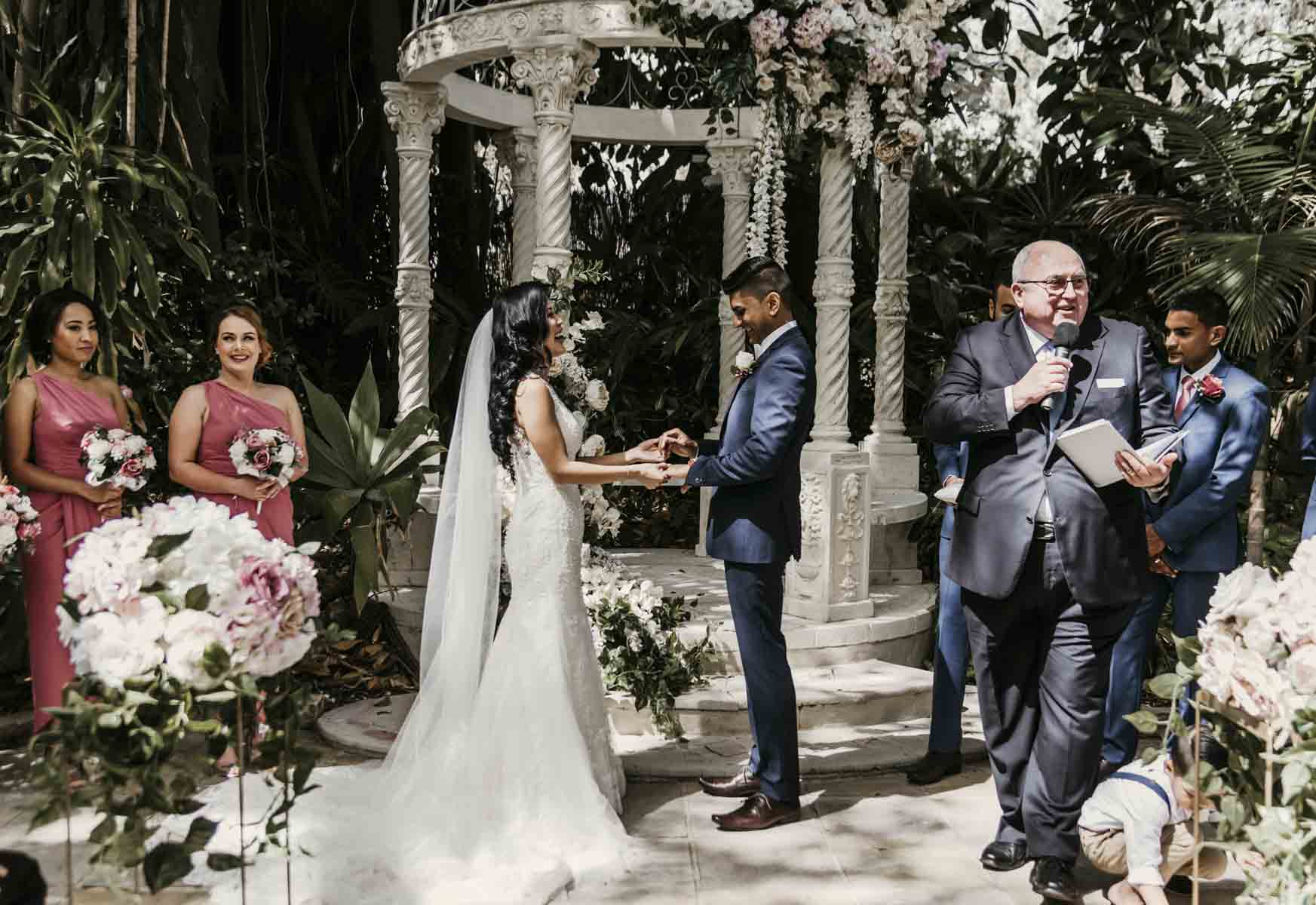 Shay and Uppi's modern and romantic garden civil wedding ceremony took place at Boulevard Gardens in Brisbane, Australia.