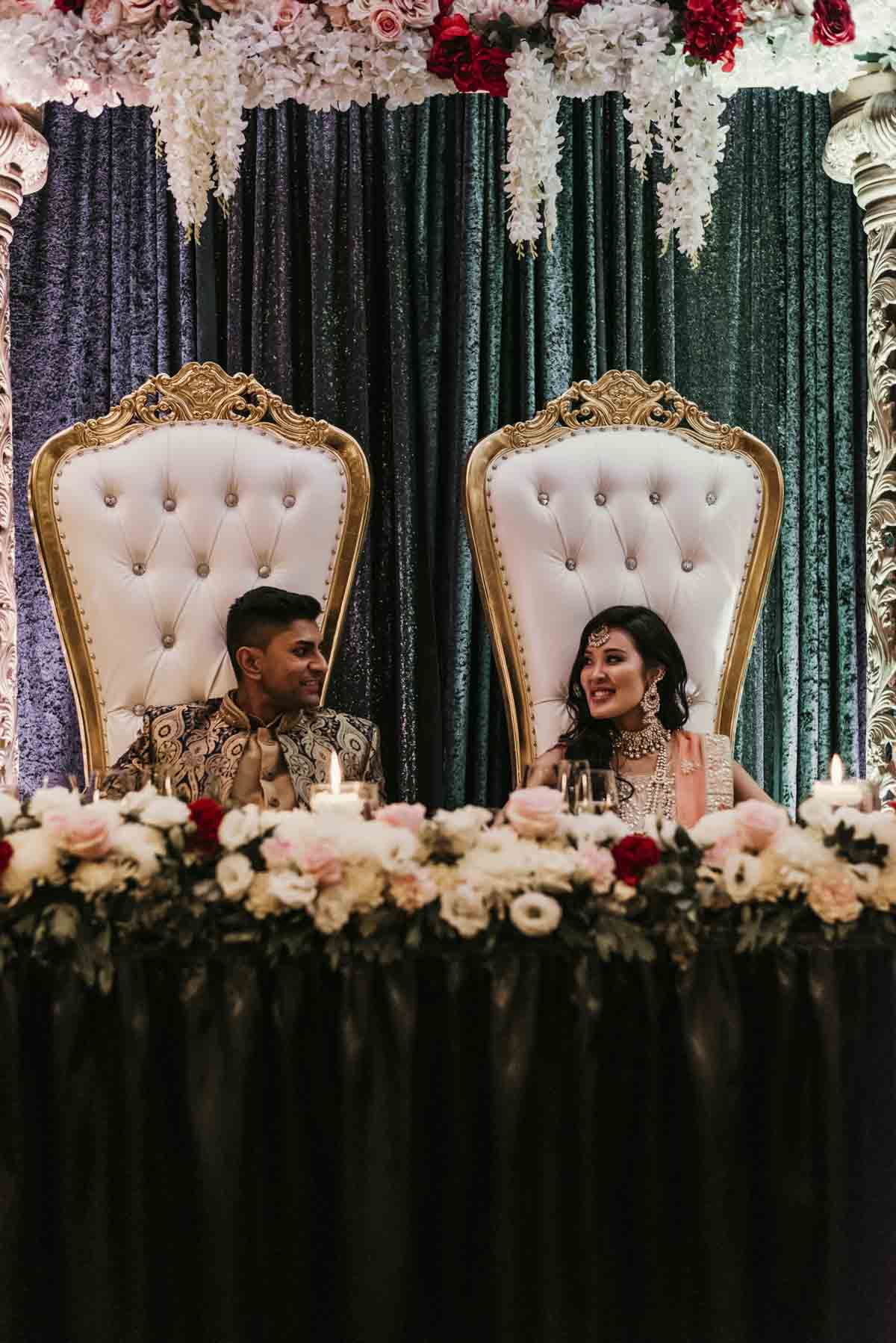 Shay and Uppi were treated like royalty, with Indian wedding decor specialists, Chandni Events setting up traditional Indian British-raj like throne chairs at their bridal party table. The wedding reception party took place at the Rydges Hotel in Brisbane.