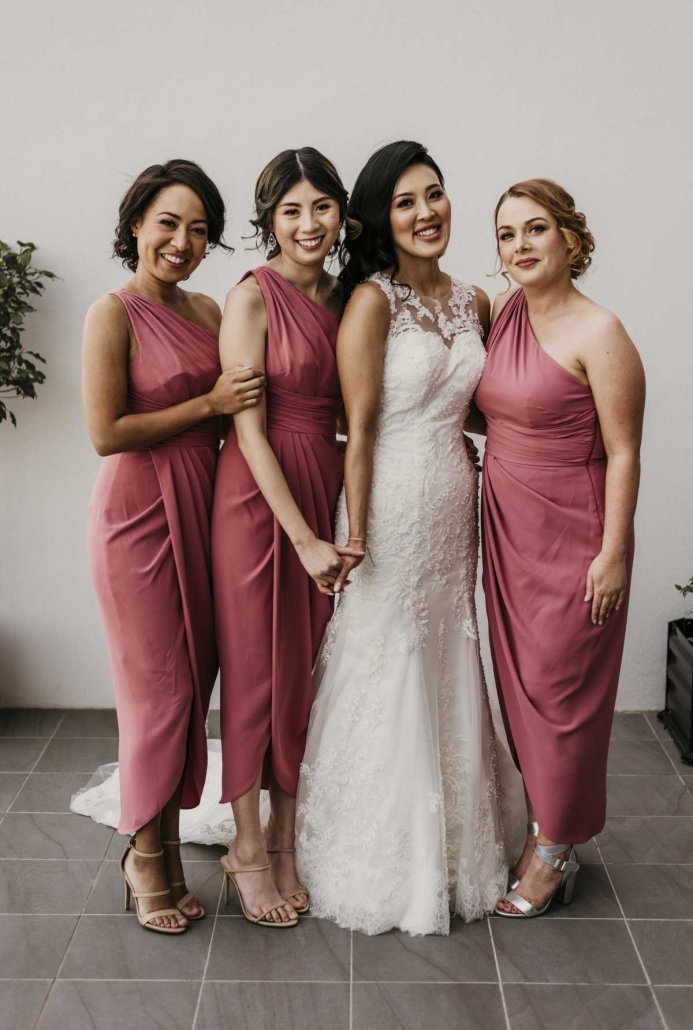 Shay had a very supportive bridal party for her modern and romantic fusion wedding in Brisbane, Australia.