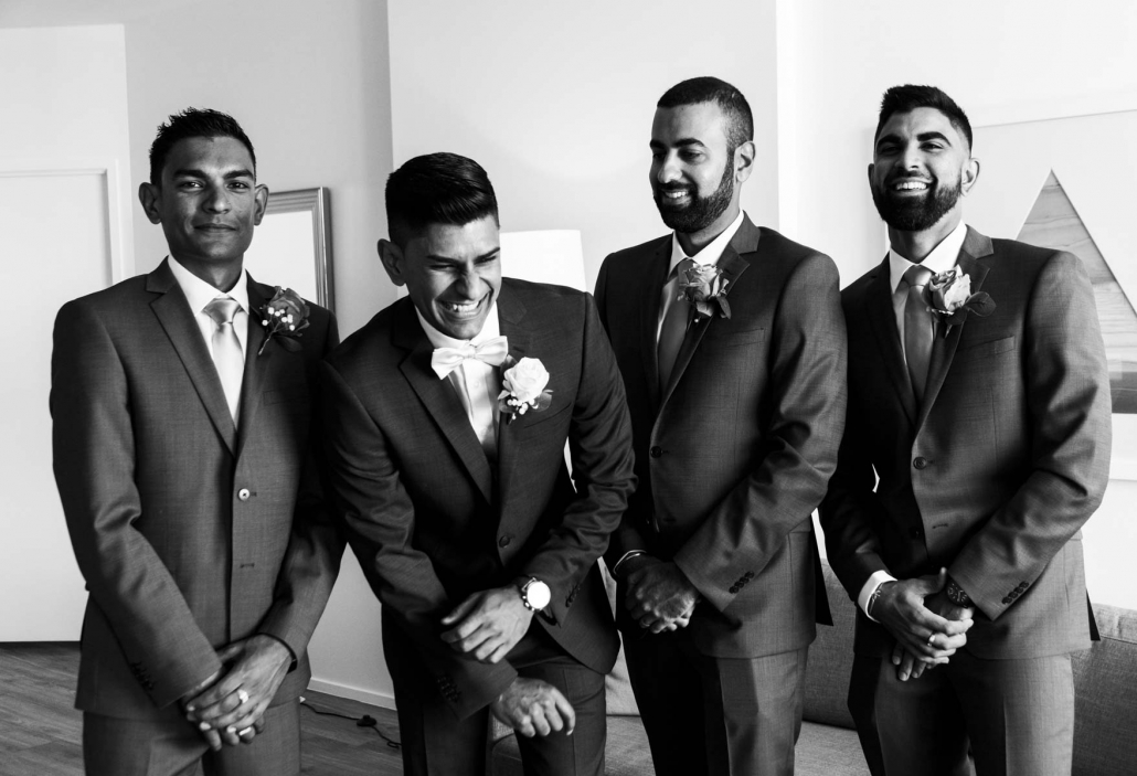 Indian groom, Uppi had his groomsmen to support him on his wedding day in Brisbane. Wedding photography was beautifully captured by Sal Singh Photography.