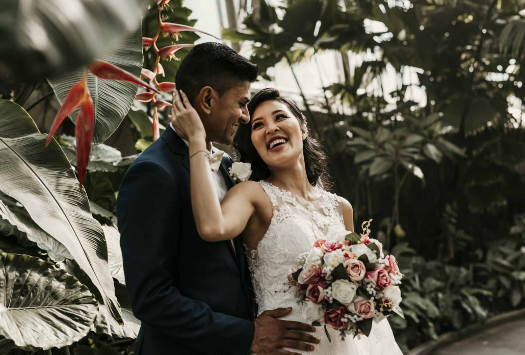 Shay and Uppi's modern and romantic garden wedding was held at the beautiful Boulevard Gardens reception venue. Wedding photography by Sal Singh Photography.