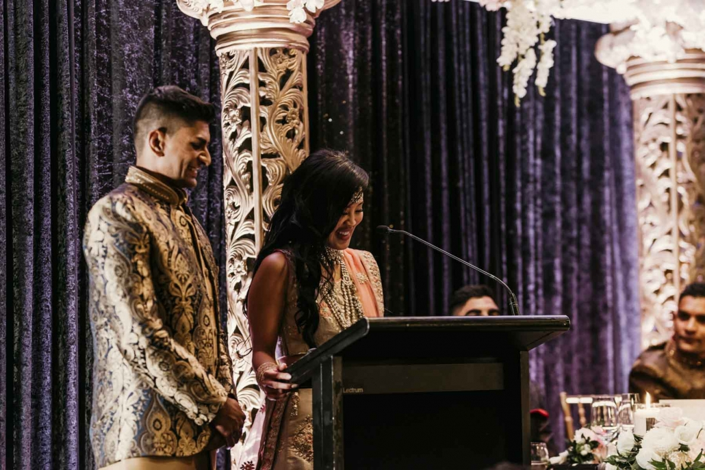 Shay and Uppi at their Indian wedding reception party at the Rydges Hotel in Southbank, Brisbane.