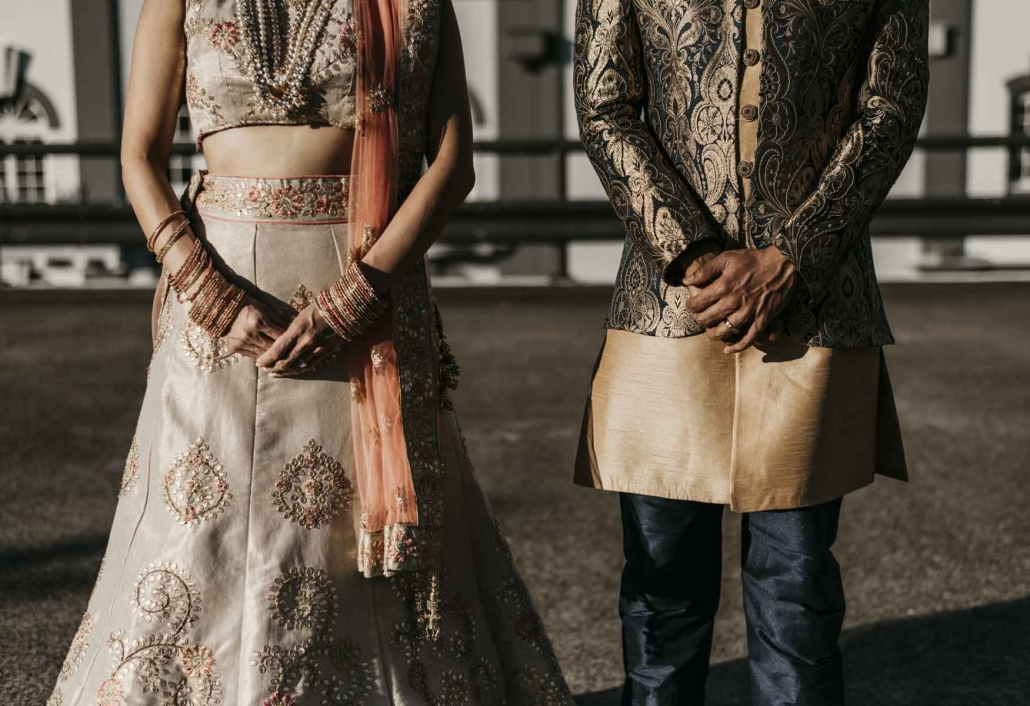 Shay and Uppi wore traditional Indian outfits for their Brisbane wedding reception. Shay's bridal trousseau was beautiful and simple, with her wearing a champagne coloured lehenga and Indian jewellery. Wedding photography was beautifully captured by Sal Singh Photography.