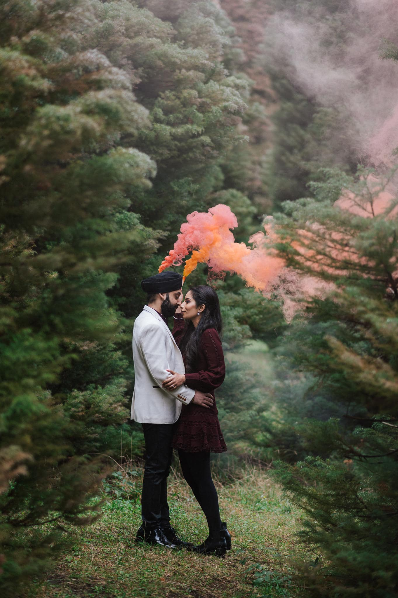 Simran and Anmol's Vibrant and Modern Sikh Wedding Celebration in Melbourne. Wedding Photography captured by Bhargav Boppa. We love how the couple incorporated smoke bombs into their pre-wedding photoshoot. Go behind the scenes on The Maharani Diaries now.