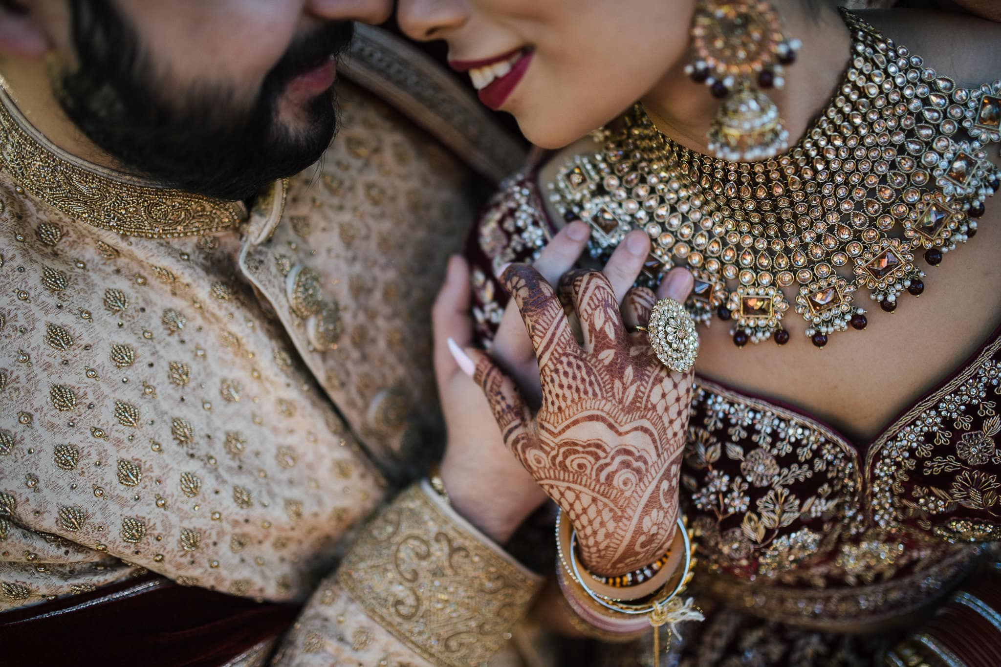 Simran and Anmol's vibrant and modern Sikh wedding celebration in Melbourne, Australia. Wedding Photography was captured by Indian wedding photographer, Bhargav Boppa. Bride, Simran wore a stunning Indian bridal jewellery set and Frontier Raas bridal lehenga.