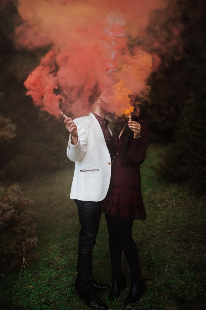 Melbourne couple, Simran and Anmol at their pre-wedding couples photoshoot. How beautiful are the smoke bombs! Go behind the scenes of their wedding on The Maharani Diaries. Photography captured by Bhargav Boppa.