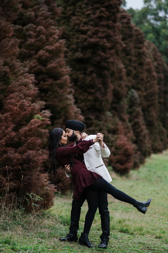 Melbourne couple, Simran and Anmol at their pre-wedding couples photoshoot. Go behind the scenes of their wedding on The Maharani Diaries. Photography captured by Bhargav Boppa.