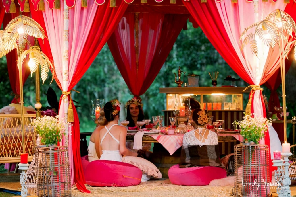 Bridal shower party in luxury tents by Glamacamp in Noosa, Sunshine Coast, Queensland.