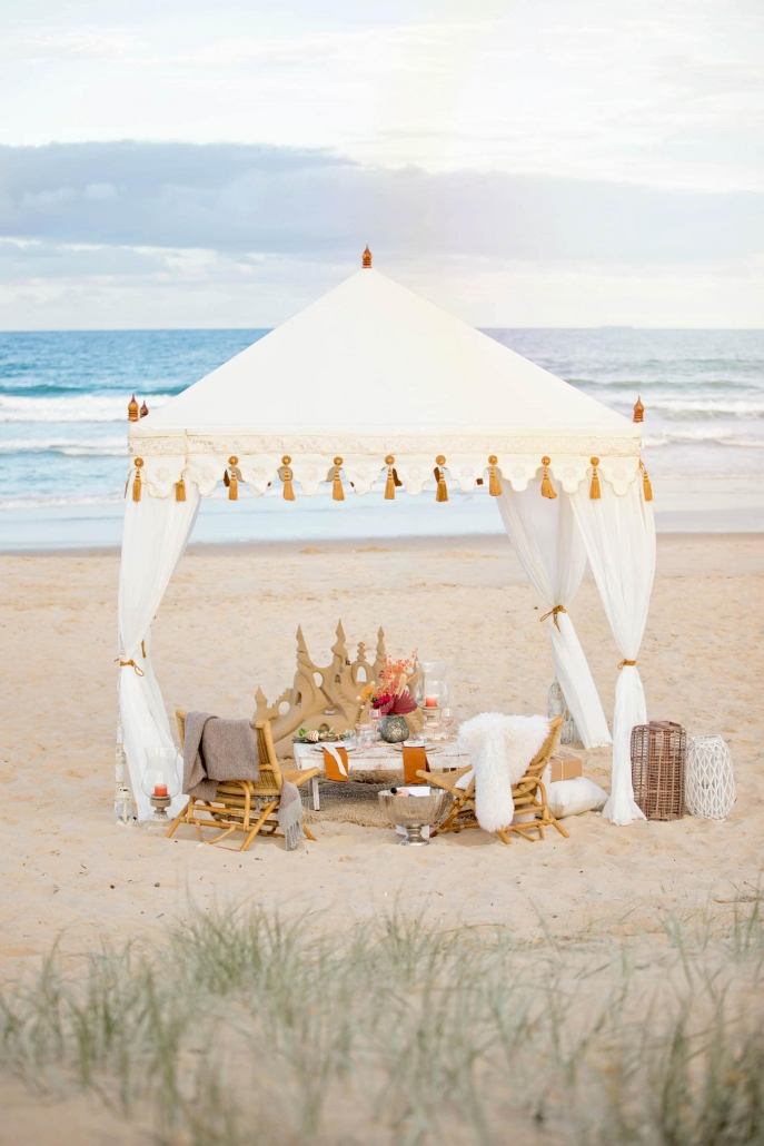 Luxury tent on beach in Queensland.