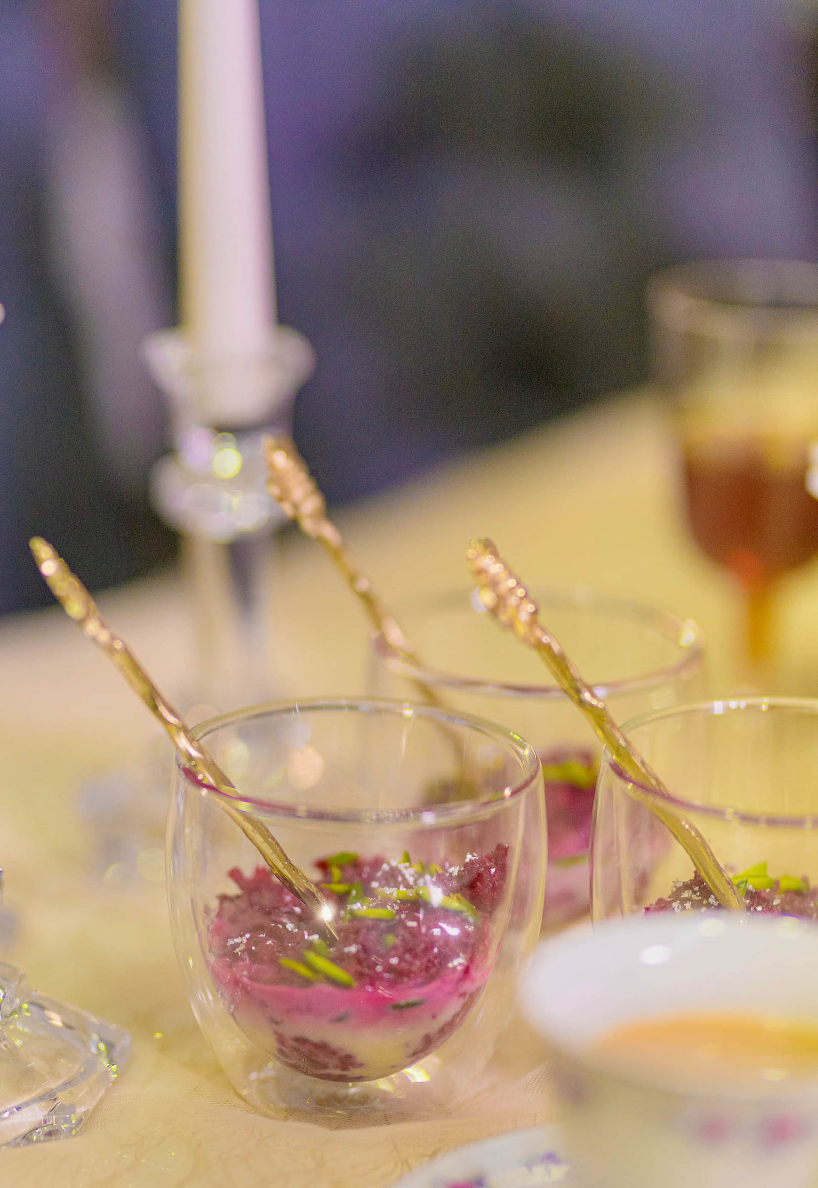 Beetroot halwa served in clear dessert cups