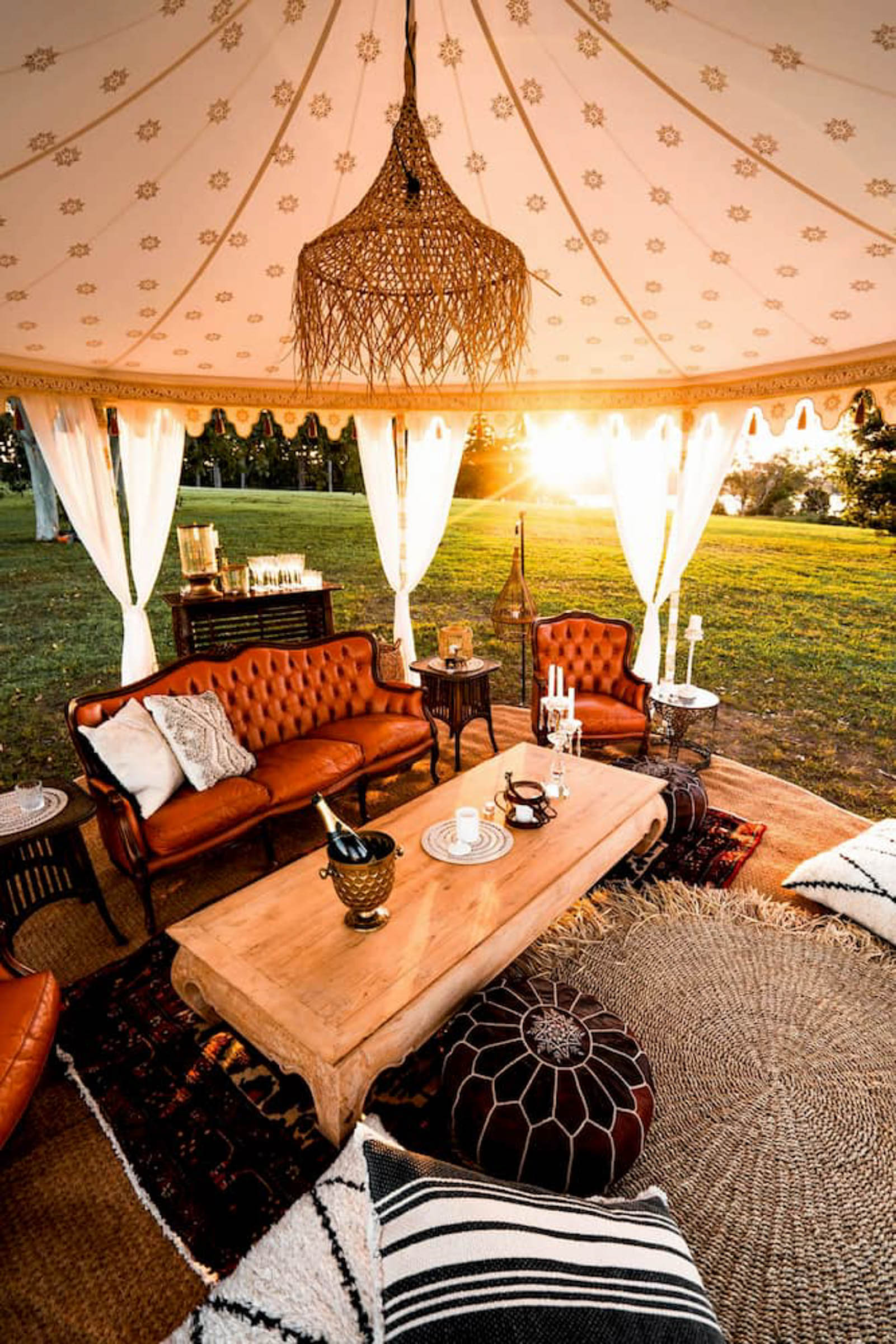 Beautiful outdoor boho luxury tent with baroque furniture